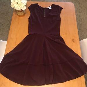 Bar III Fit n Flare Dress, deep purple Size Large